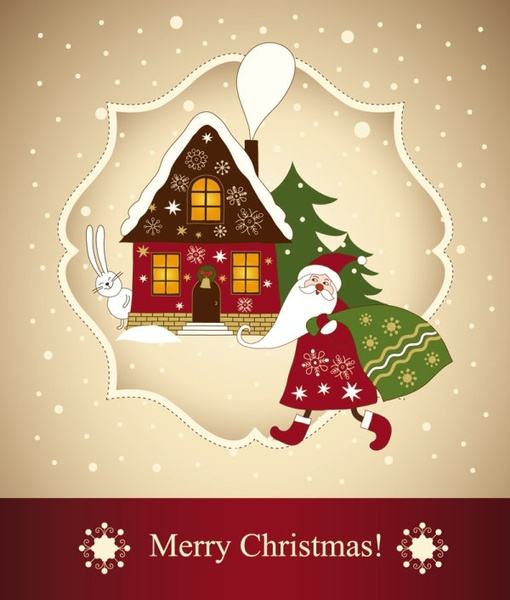 beautiful christmas greeting card 03 vector
