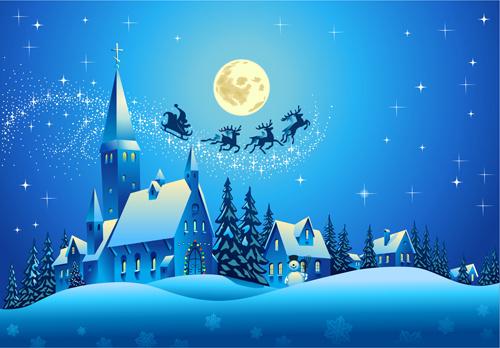 beautiful christmas night winter vector background