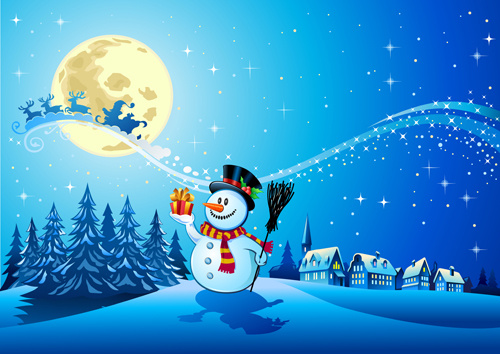 beautiful christmas night winter vector background