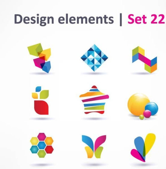 beautiful color threedimensional logo 04 vector