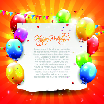 beautiful colorful balloons happy birthday background vector