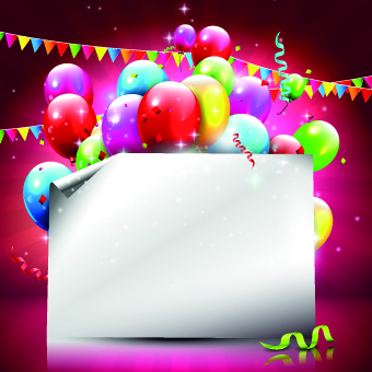 Beautiful Colorful Balloons Happy Birthday Background Vector Free