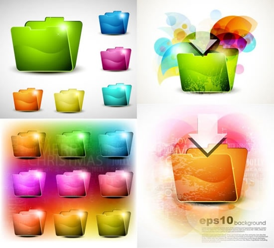 computing folder icons shiny colored 3d sketch