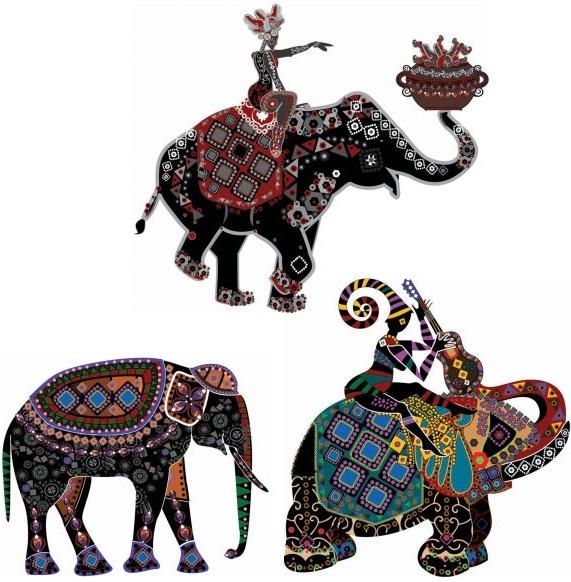 beautiful ethnic style decoration vector clip art