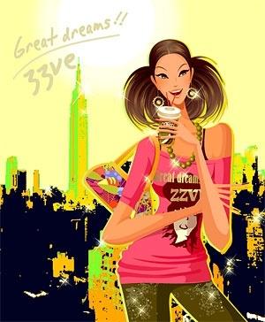 beautiful female fashion trend vector