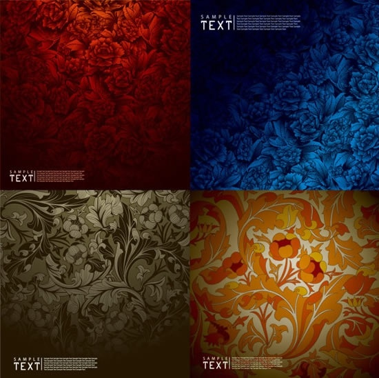 floral pattern templates dark colored classical decor