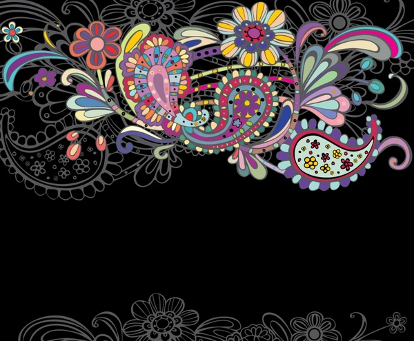 decorative floral pattern template dark colorful classical doodles