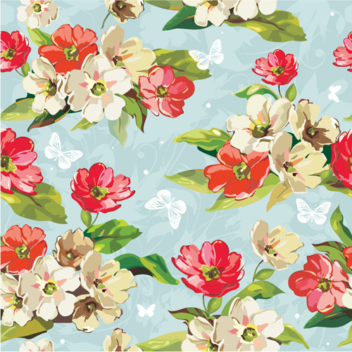 beautiful flower pattern mix vector