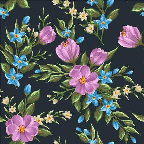 beautiful flower seamless patterns retro vector set