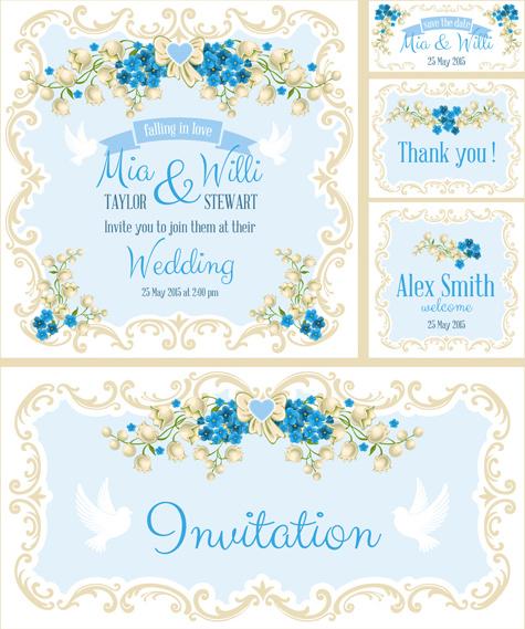 beautiful flower wedding cards vecors