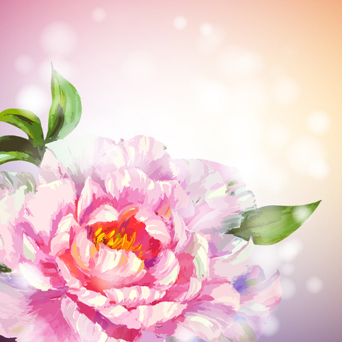 beautiful flower with pink backgrounds vector