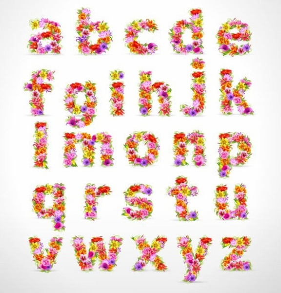 Flower Alphabet Letter Font Free Vector Download (15,672