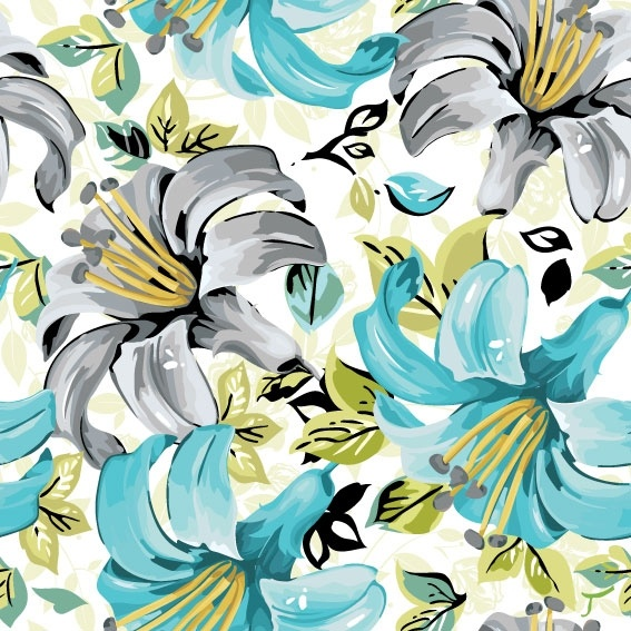 beautiful flowers and patterns 05 vector