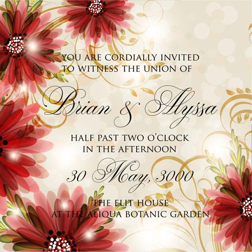 Beautiful Flowers Wedding Invitation Card Vector Set Free