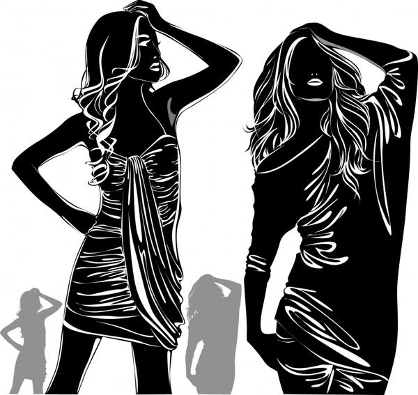 fashion girl icons black white silhouette design
