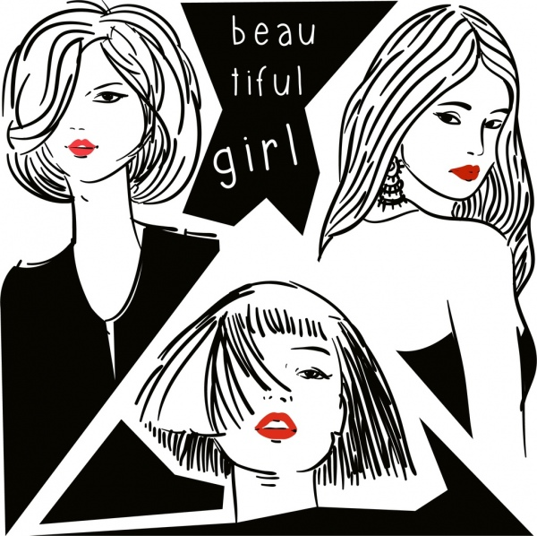 Beautiful Girls Background Black White Handdrawn Sketch Free Vector