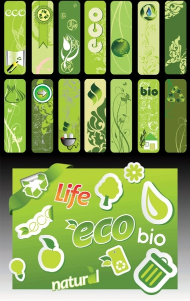 beautiful green living banner vector series