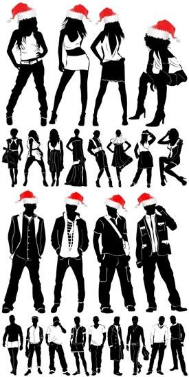 fashion icons colored black white silhouette sketch