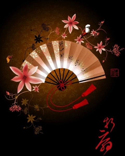 beautiful japanese folding fan psd layered
