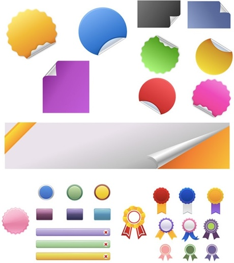 sticker label templates modern colorful shapes