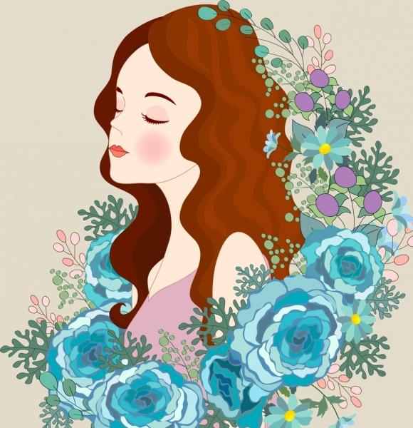 beautiful lady painting roses icons decor cartoon character