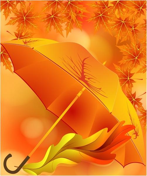 autumn background template orange elegant umbrella leaves decor