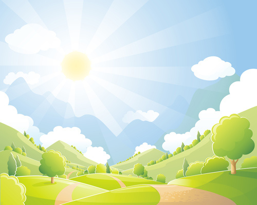 Beautiful natural scenery and sun vector Free vector in
