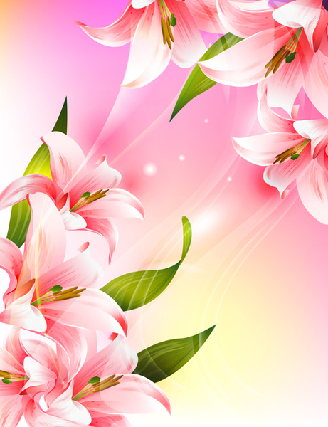 Beautiful pink flowers vector background set free vector in beautiful pink flowers vector background set mightylinksfo