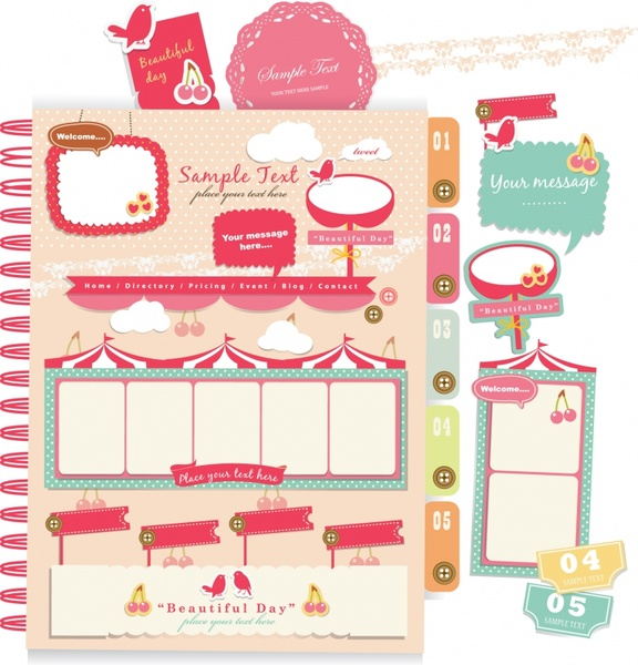 beautiful pink stickers letterheads vector elements