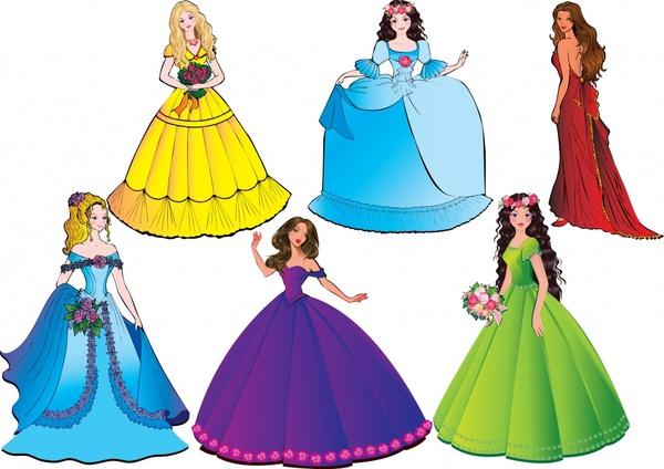 princess icons cute cartoon sketch colorful design