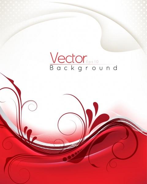 decorative background elegant bright modern white red curves