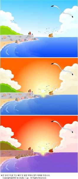beach scene background templates colorful cartoon design