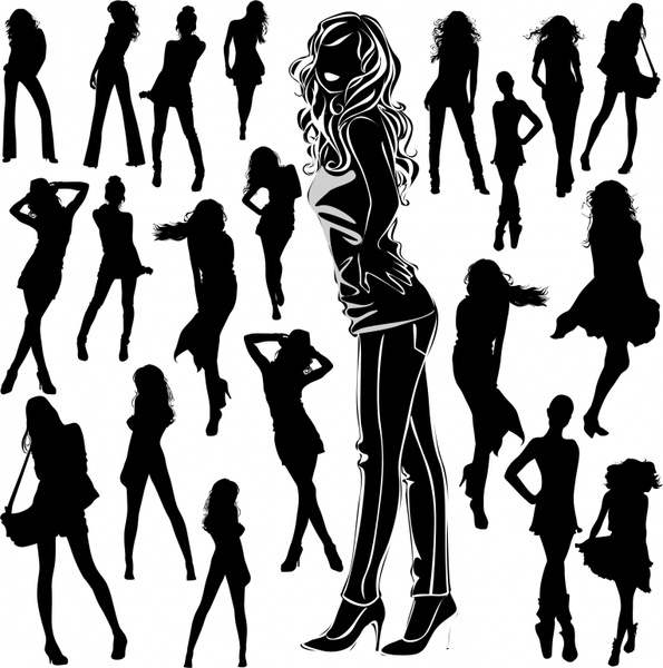 fashion model icons black silhouettes design