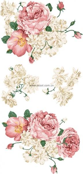 beautiful style of handpainted peony flower psd layered