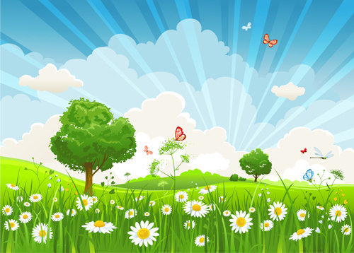Beautiful summer landscapes design vector Free vector in