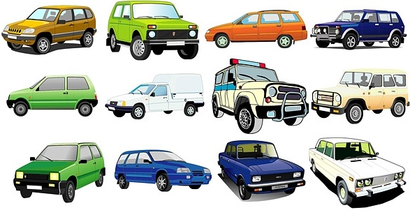 beautiful variety of cars vector 2