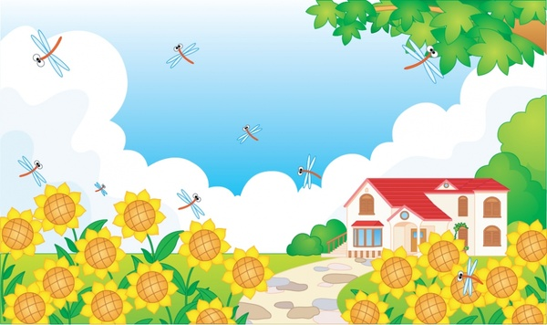 spring background sunflowers dragonfly house icons colorful design