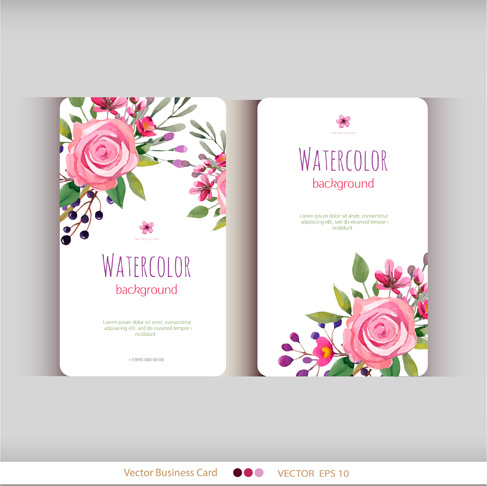 Beautiful watercolor flower business cards vector set free vector in beautiful watercolor flower business cards vector set cheaphphosting Gallery