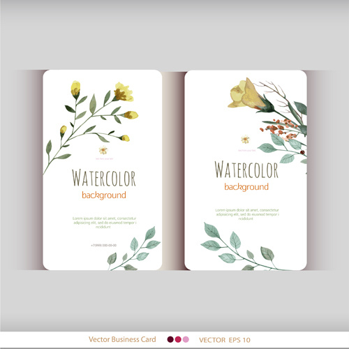 Beautiful Watercolor Flower Business Cards Vector Set Free Vector In