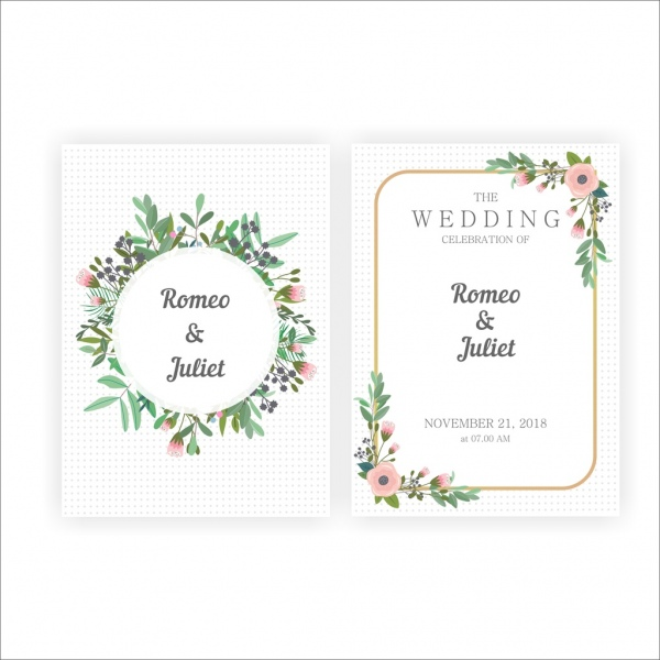 Beautiful Wedding Invitations With Gold And Flower Frames Free