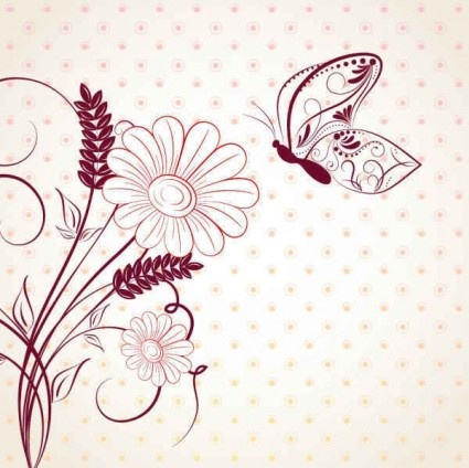 beautiful with flower background cartoon vector