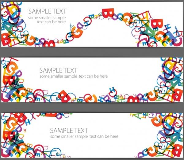 education banner templates dynamic colorful alphabet elements