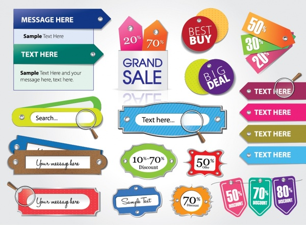 beautifully colored vector price tag