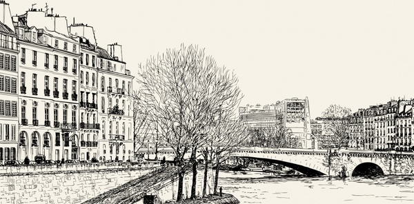 peaceful city painting black white handdrawn sketch