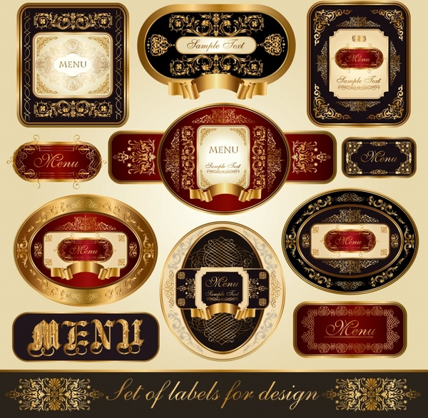 luxury labels templates shiny european retro design