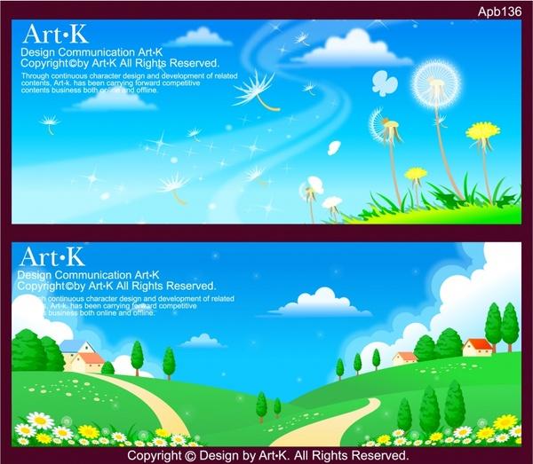 landscape background sets colorful modern cartoon design