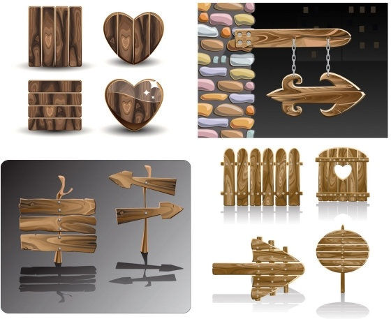 beautifully realistic wood signs vector