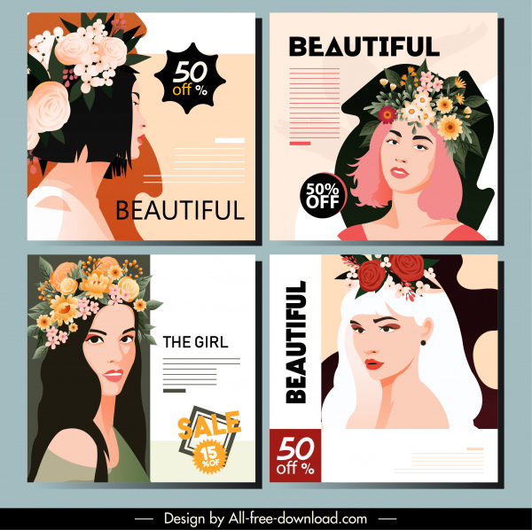 beauty advertising poster elegant lady floral sketch