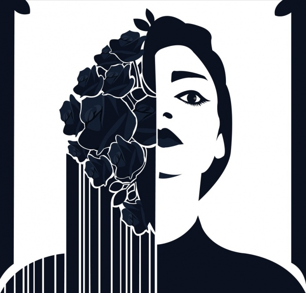 beauty background woman face flowers icons dark design