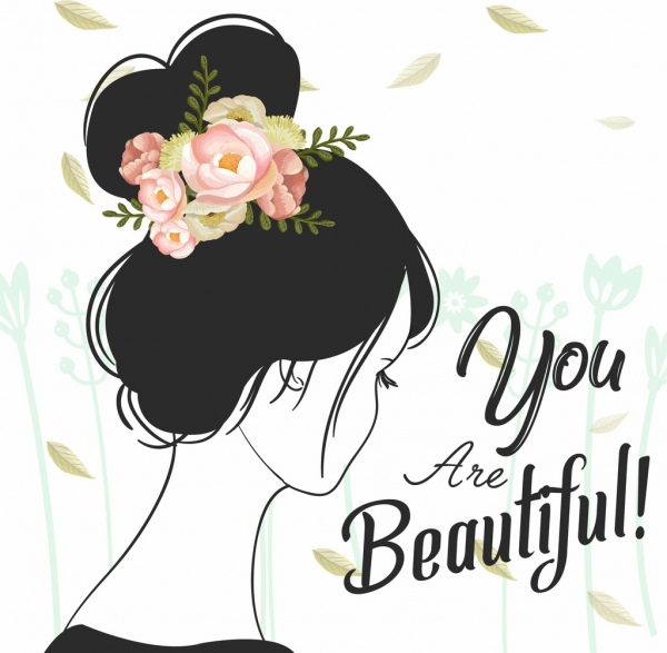 beauty banner woman roses icons handdrawn sketch